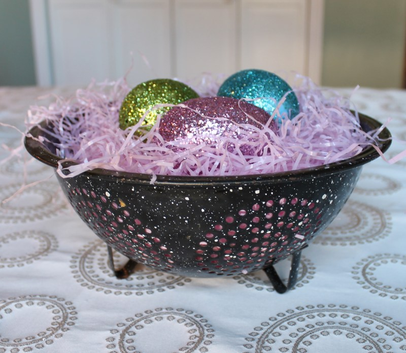 Vintage Colander with Glittery Easter Eggs