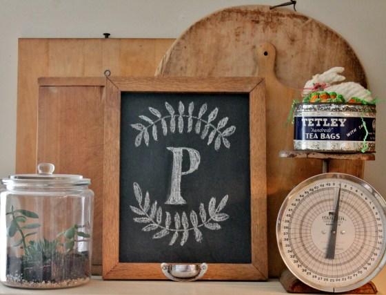 Oak framed chalk board with bread board background