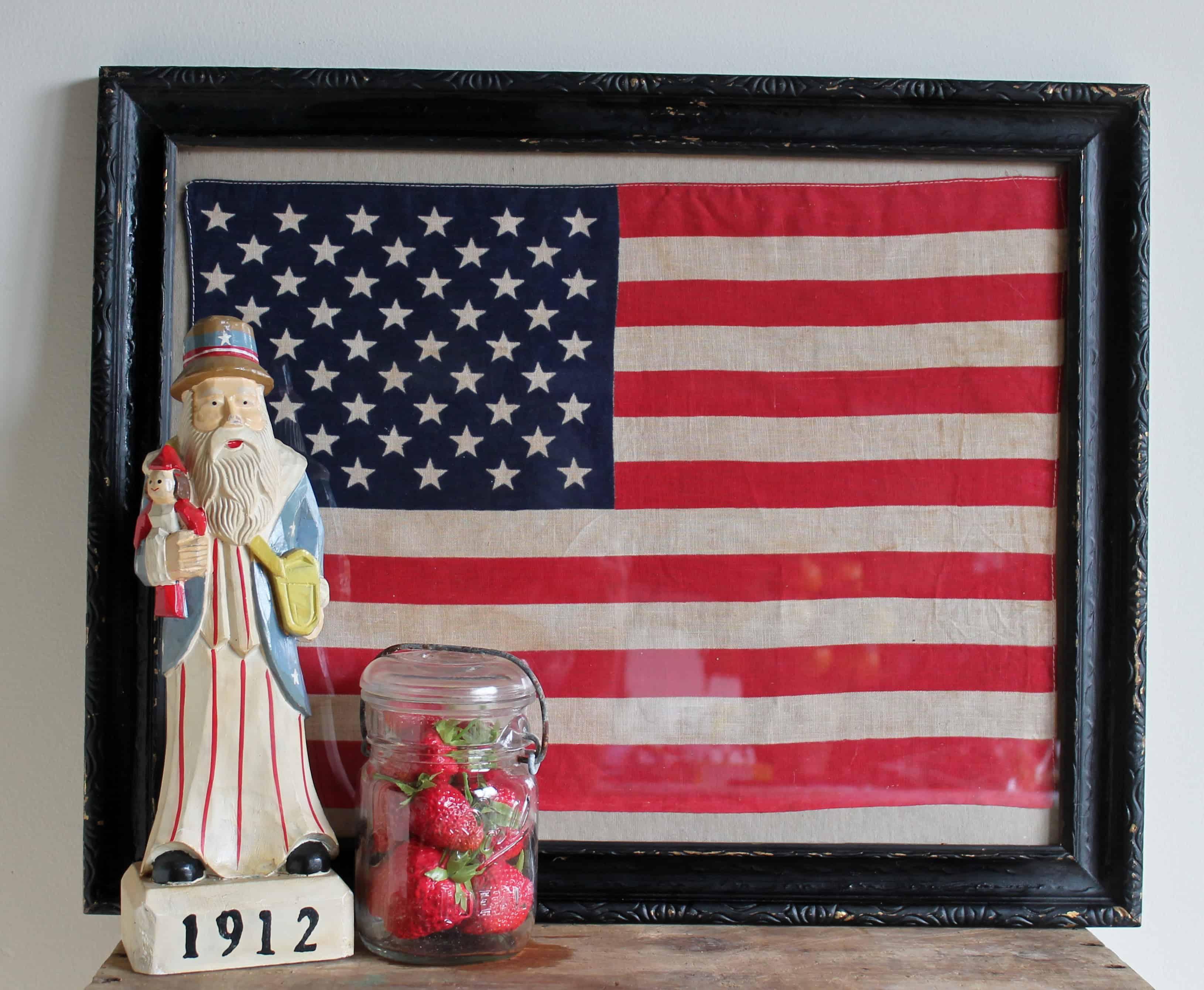 Patriotic Wall Art: Framing Vintage Flags • Adirondack Girl @ Heart