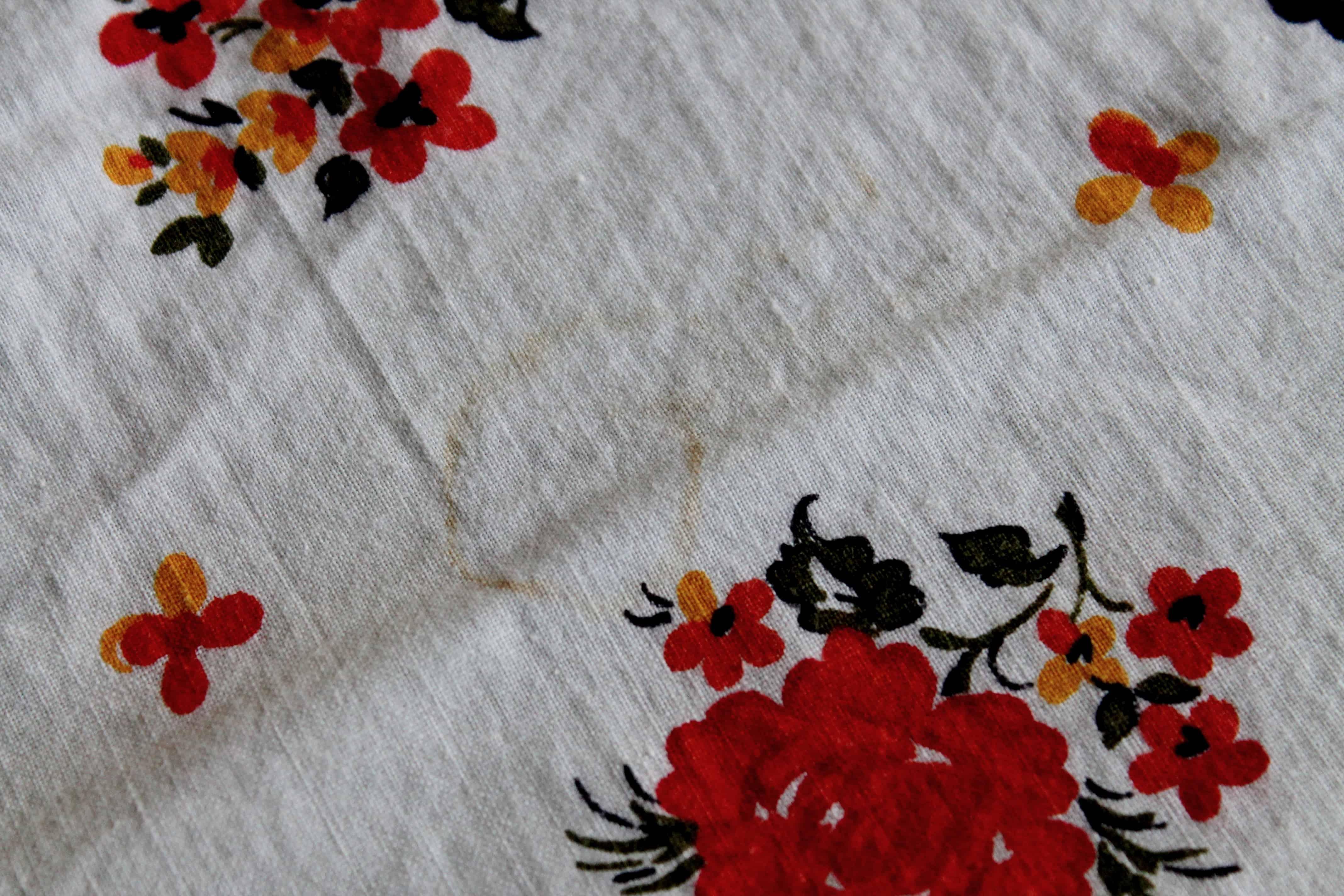 Scorch mark on vintage apron