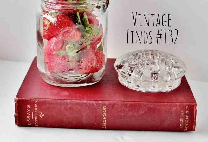 Vintage Book, Ball Jar of Strawberries, & Flower Frog (4)