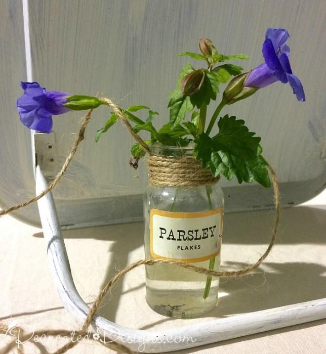 vintage-spice-jar-flower-holder Recreated Designs #40 Kathy