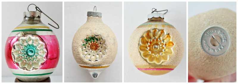 Vintage Shiny Brite Indent Ornaments Collage