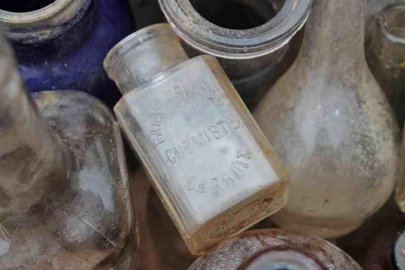 Close up of antique bottles