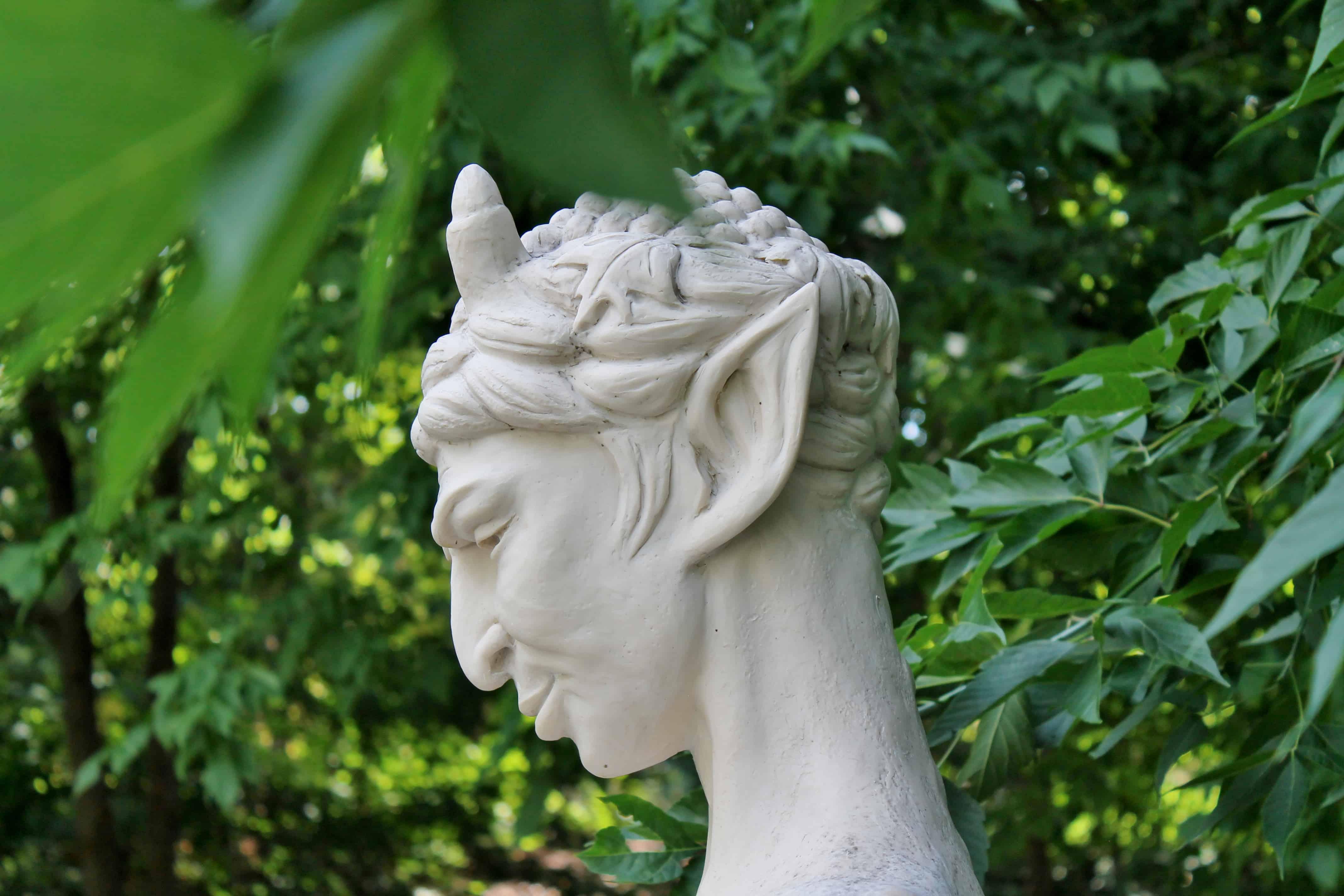 Faun statue in Italianate grotto of Congress Park, Saratoga