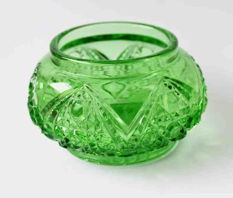 Vintage green glass dresser jar