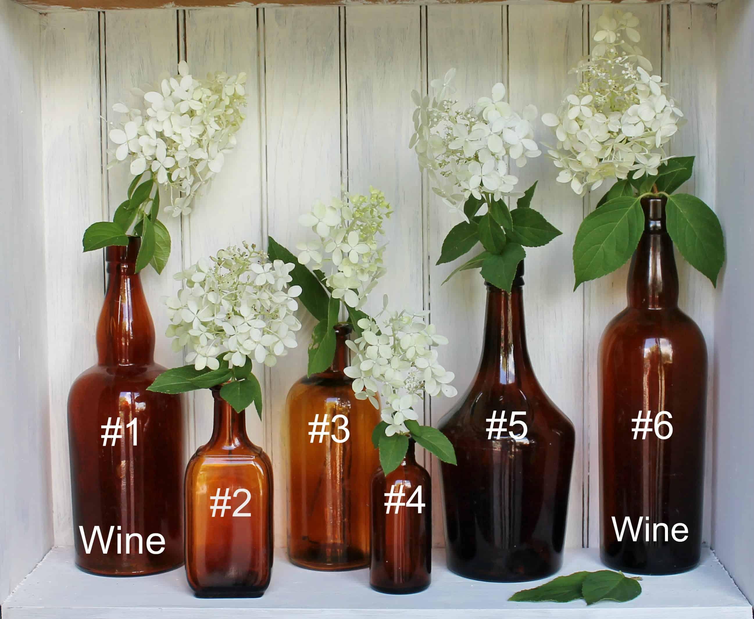 Vintage amber bottles wine bottle id and #s