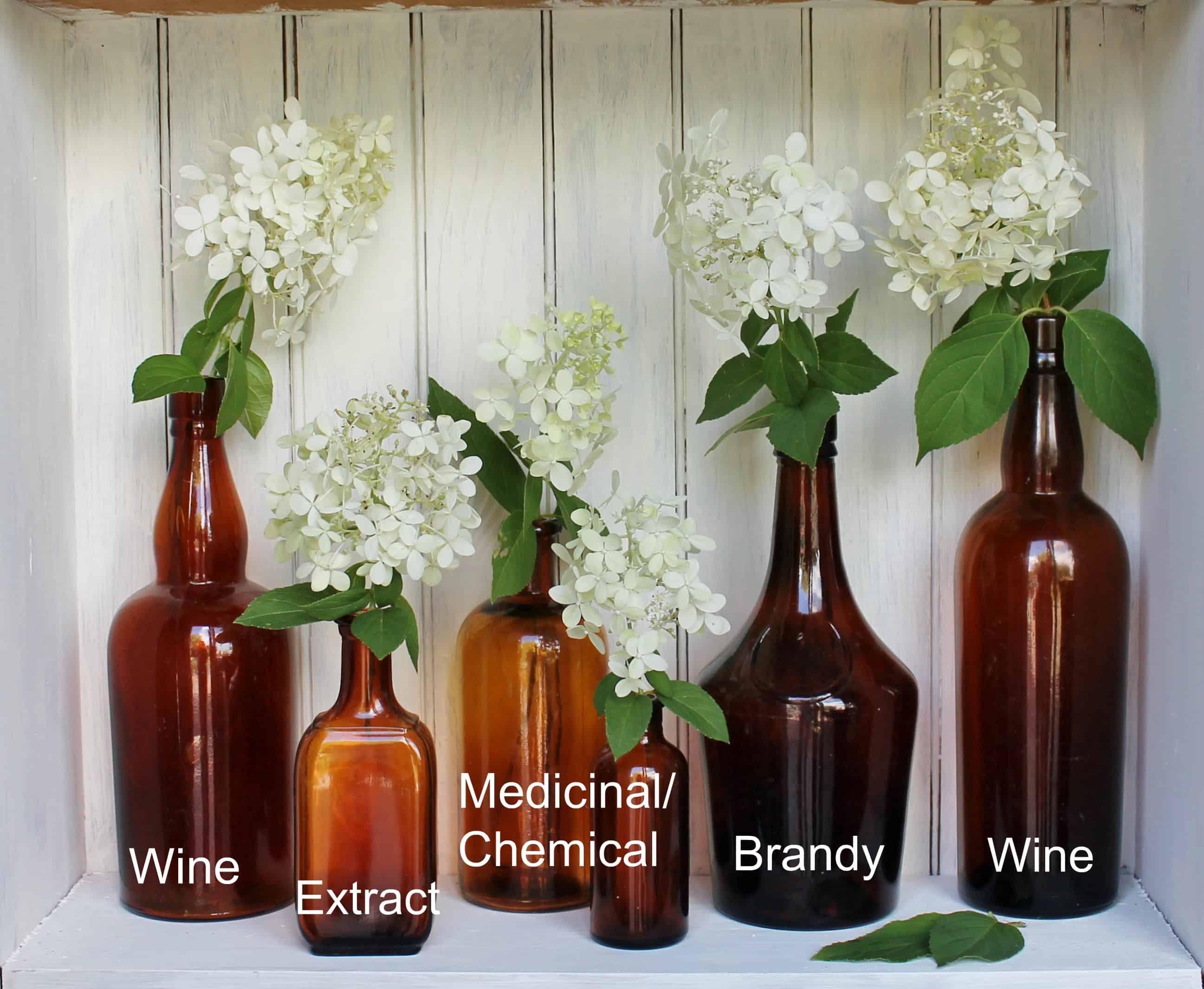 Vintage amber bottles with labels
