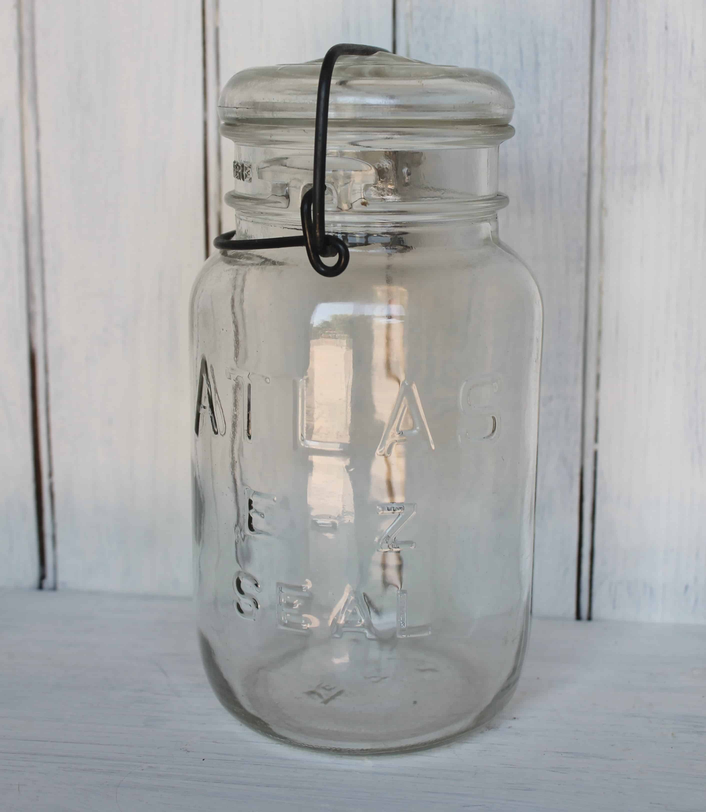 antique atlas lightning style canning jar with metal closure