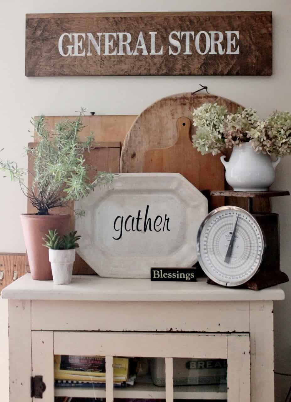 "Stenciled Ironstone Platter ""Gather"""
