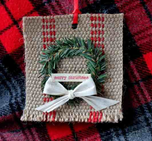 Mini Wreath and Jute Webbing Christmas ornament