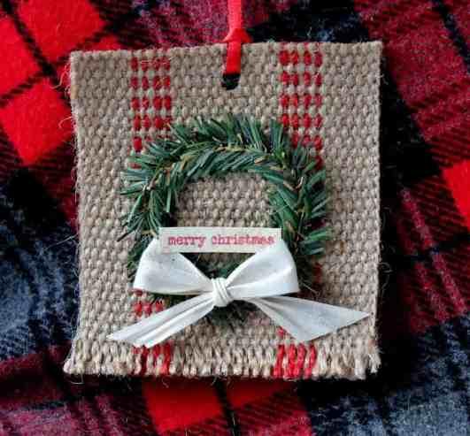 Mini Wreath and Jute Webbing Christmas ornament