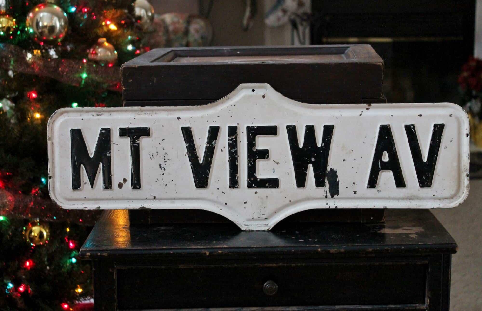 Vintage Road Sign--Mt View Av