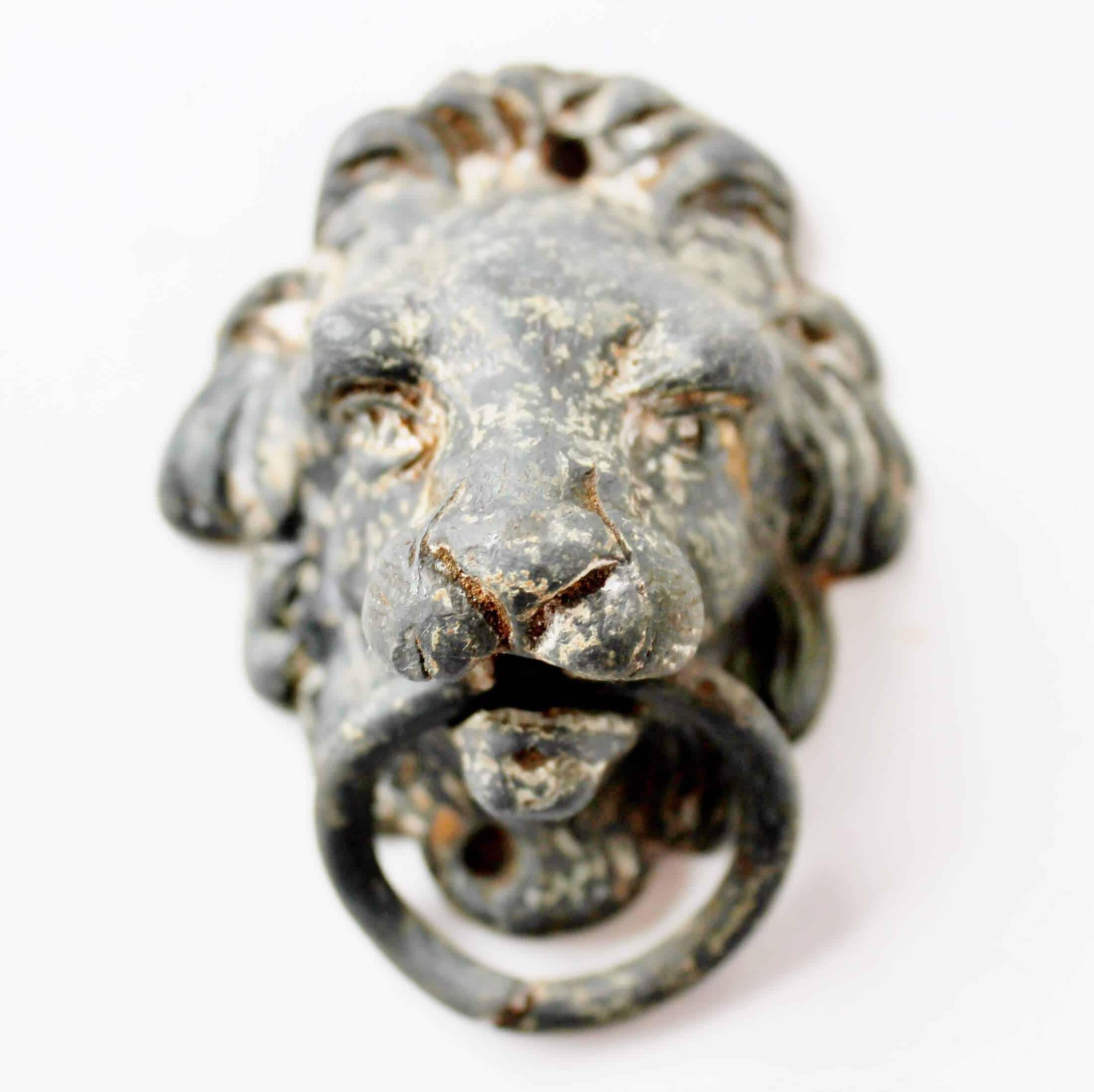 Antique metal lion drawer pull