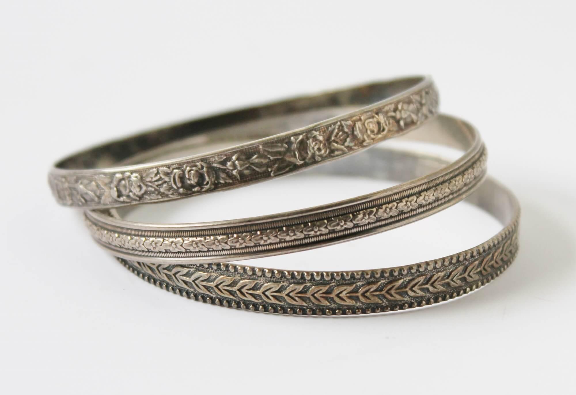 Trio of Sterling Silver Bangle Bracelets