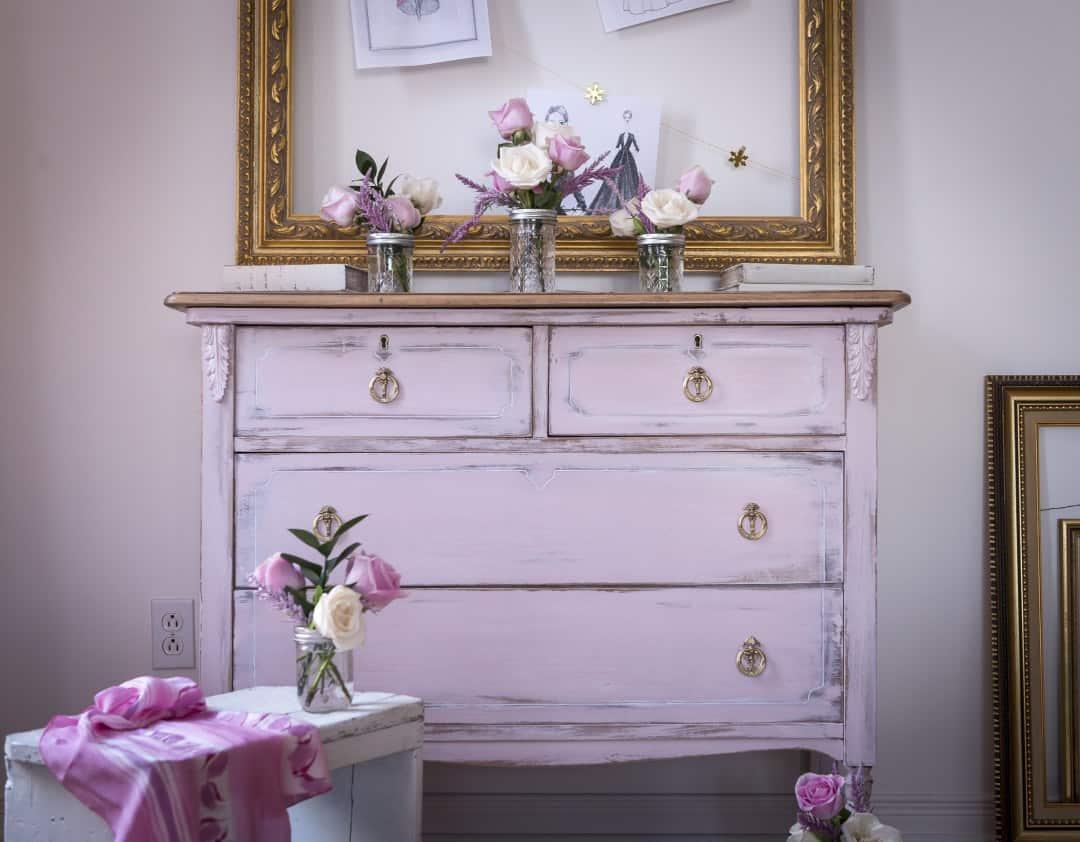 Painted Vintage Pink Dresser