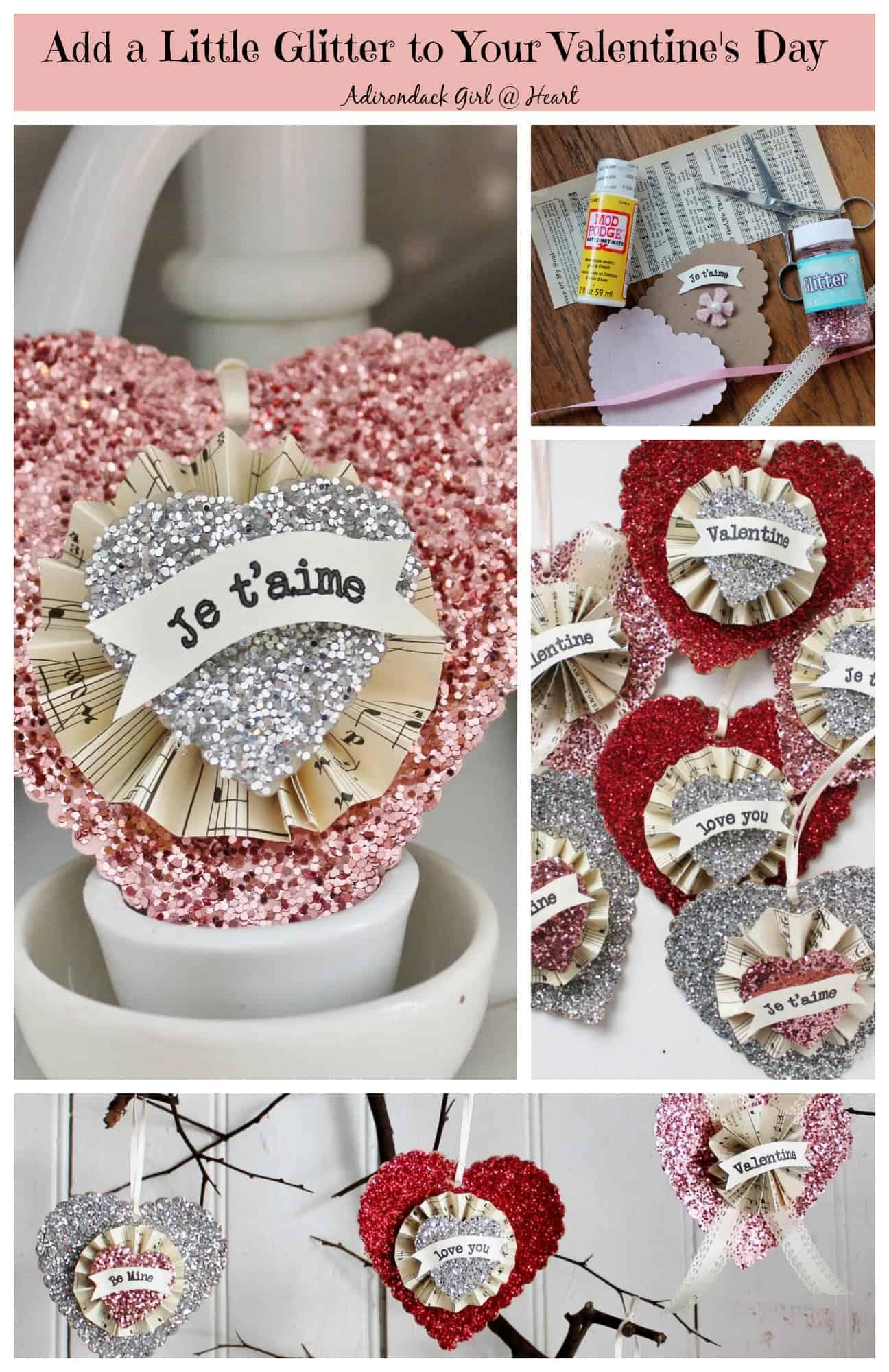 Glittery Valentine Collage