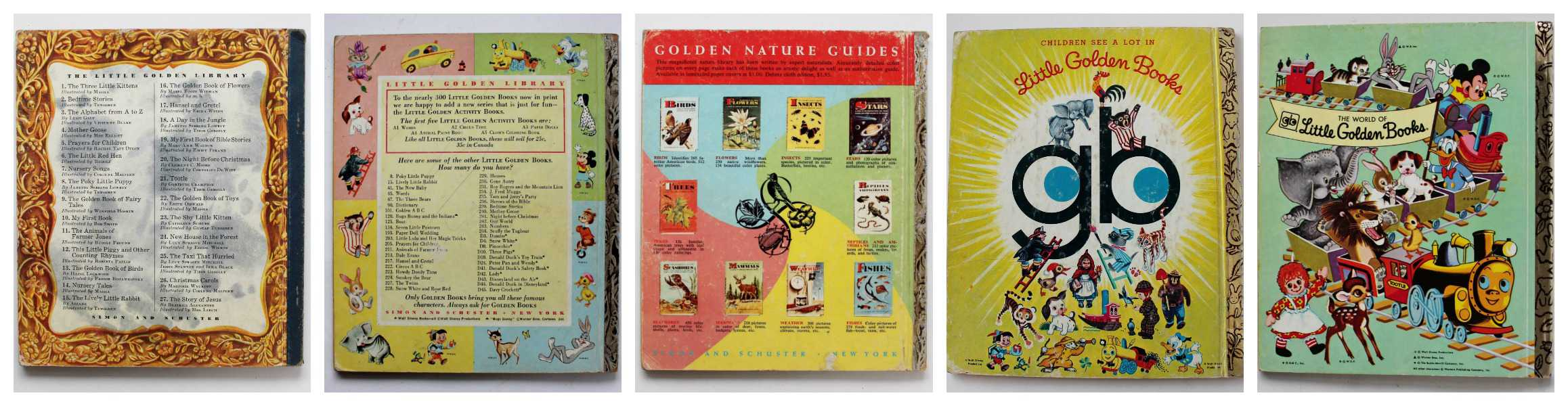 variety of back covers from little golden books