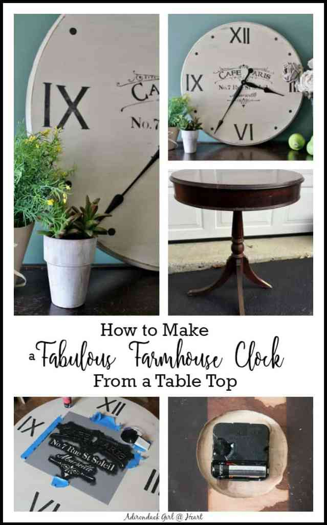 Collage of photos showing how to turn a table top into a farmhouse style clock