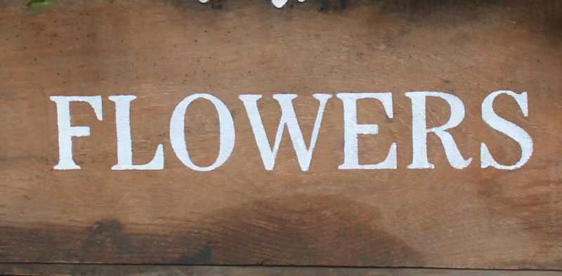 Flower stencil on vintage box