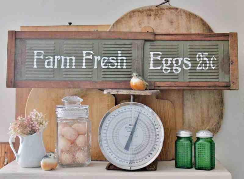 Farmhouse style sign made from a vintage window vent