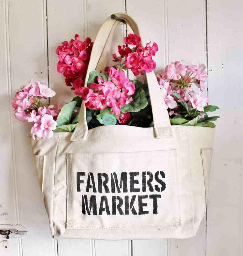 thrifted farmers market canvas bag