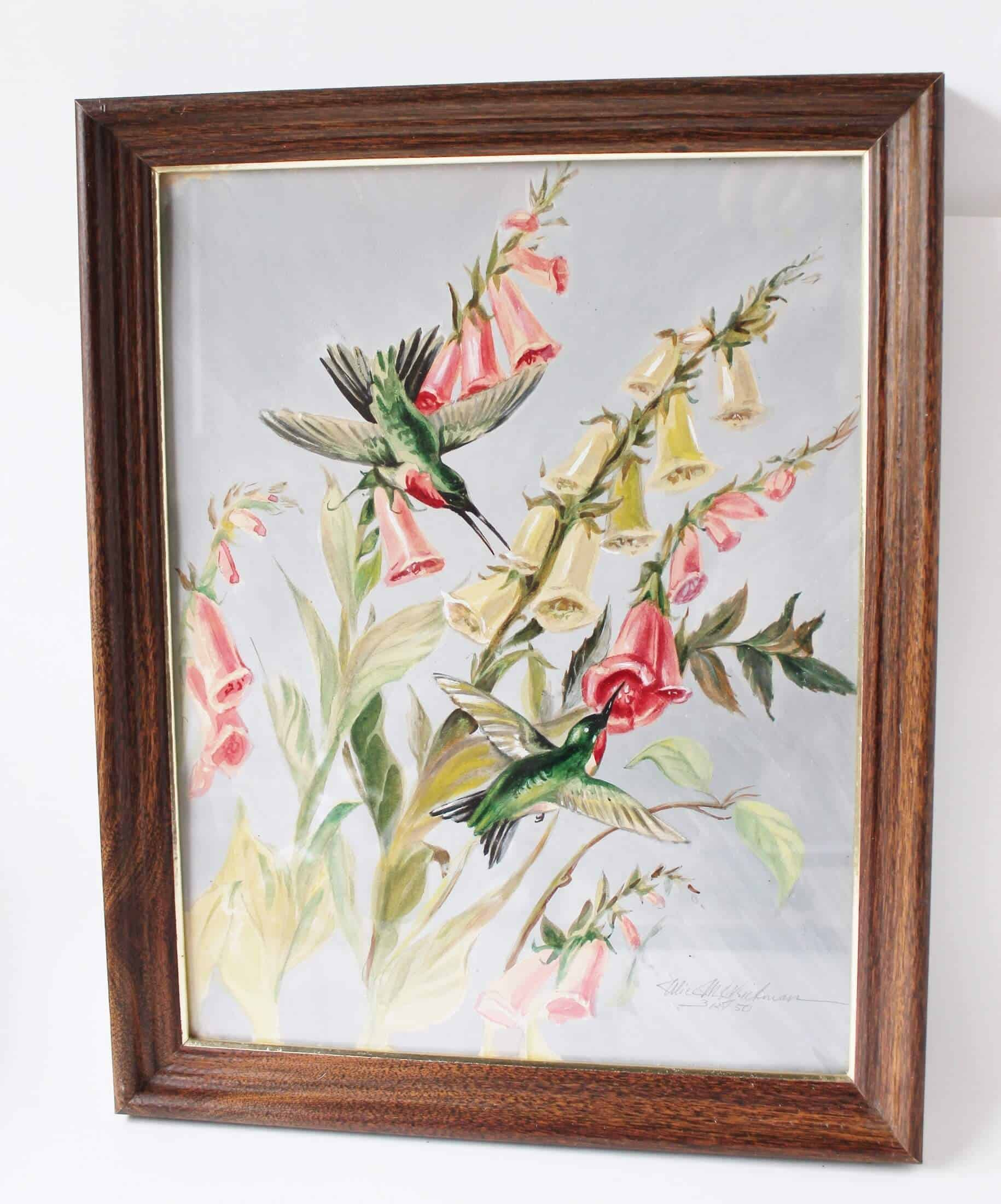 Original artwork of hummingbird and flowers