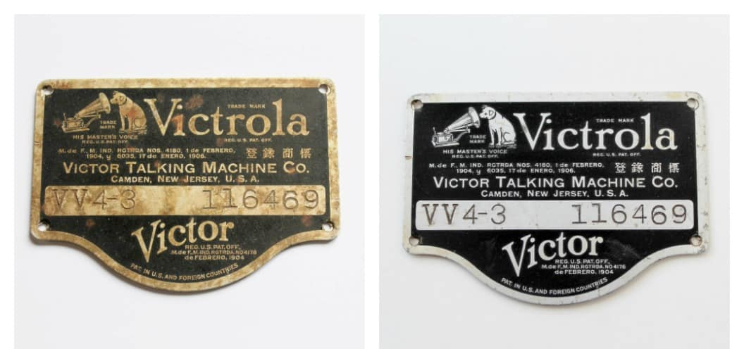 victrola plates--before and after cleaning