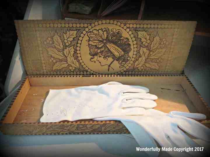 antique wood burned glove box
