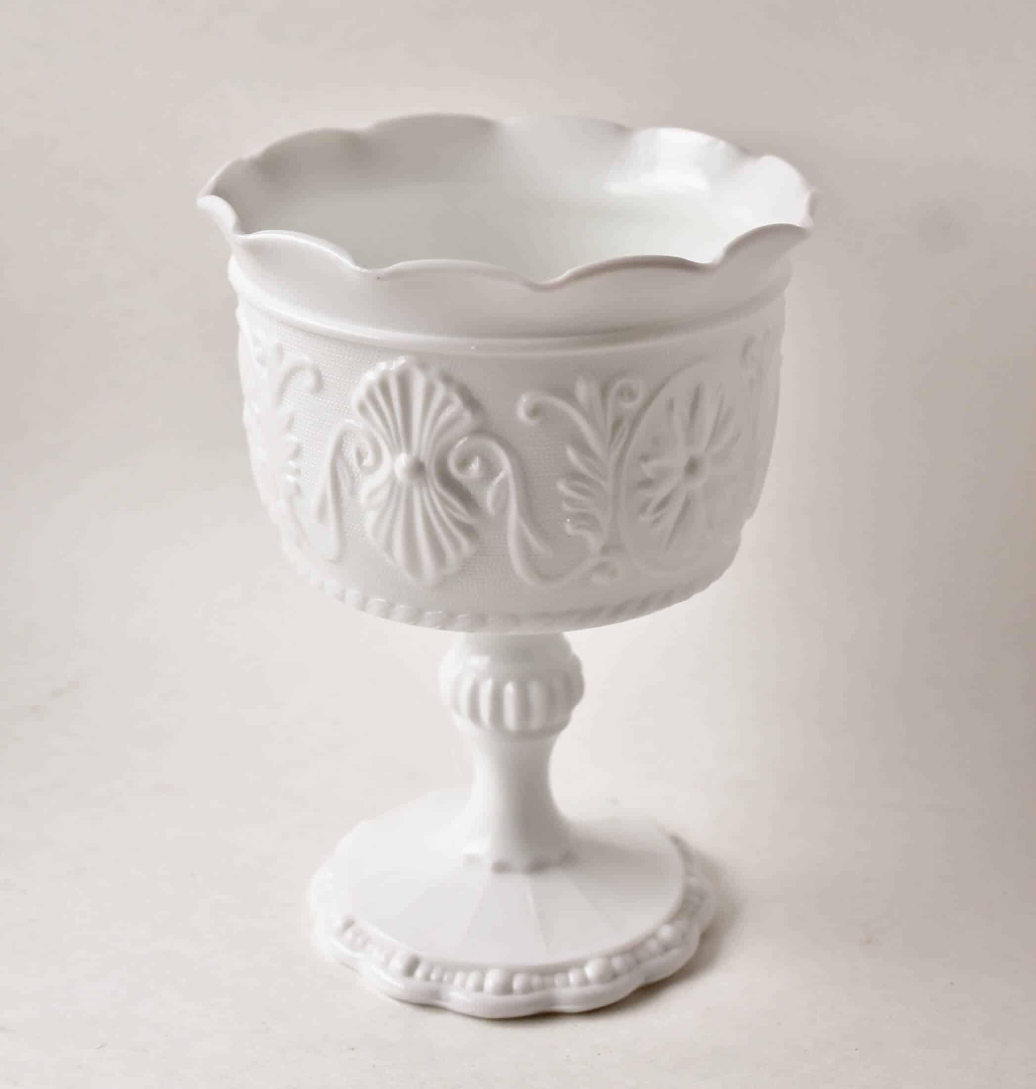 vintage milk glass goblet