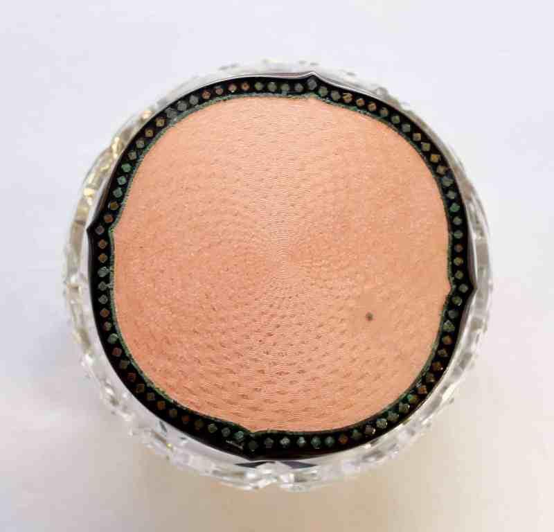 top view of pink vanity jar
