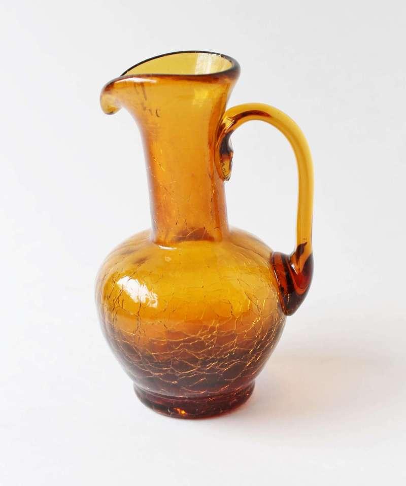 vintage amber crackle glass