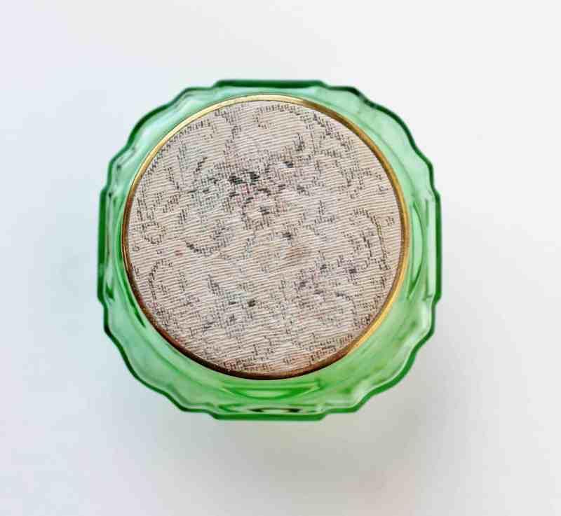 tapestry lidded vanity jar