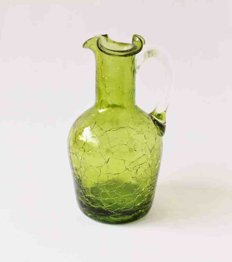 vintage olive green crackle glass pitcher