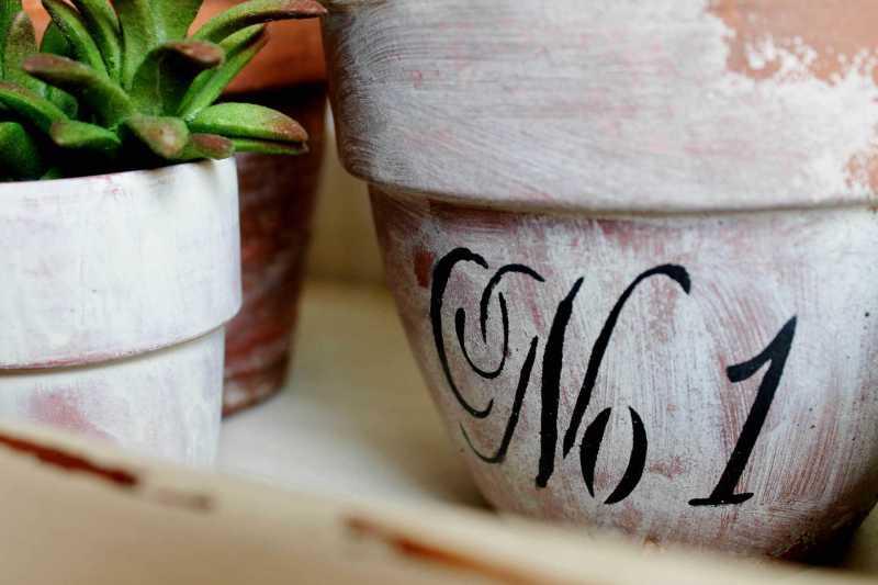 close up of No 1 terra cotta pot