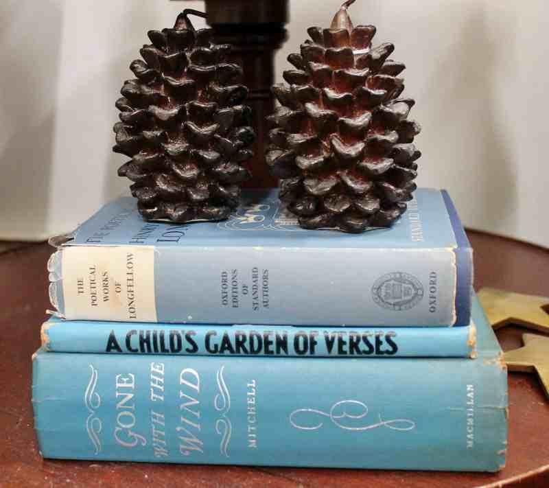 Stack of blue vintage books