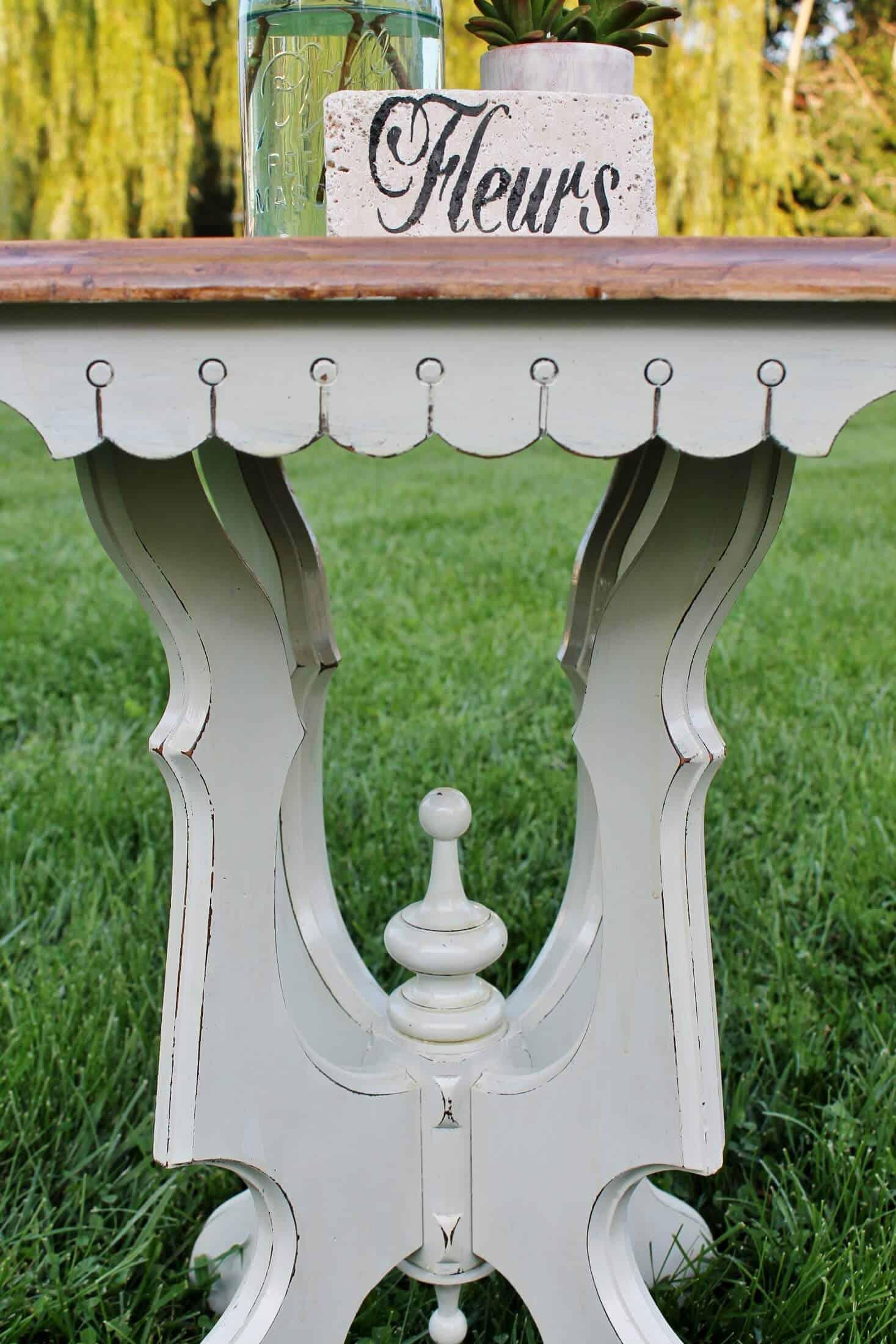 side of vintage madeover side table