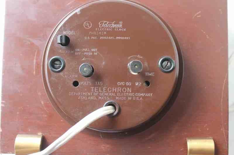 back of vintage 1920's telechron clock
