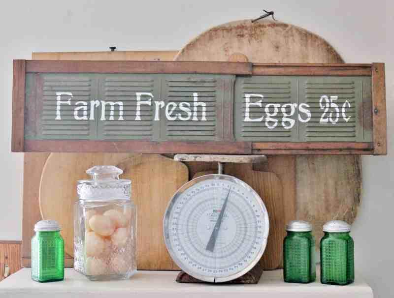 farm fresh eggs sign on vintage vent