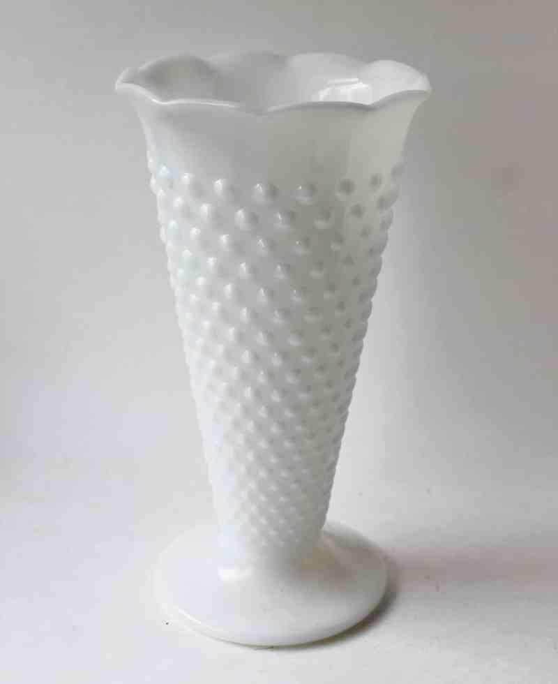 vintage milk glass hobnail trumpet vase