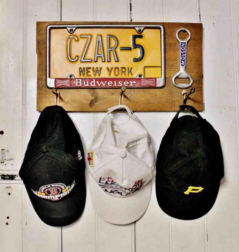 vintage license plate hat rack