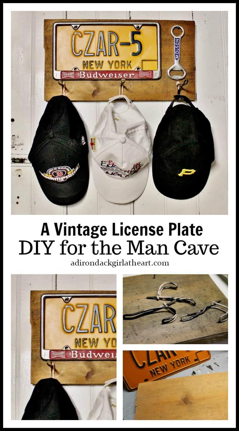 vintage license plate hat rack collage