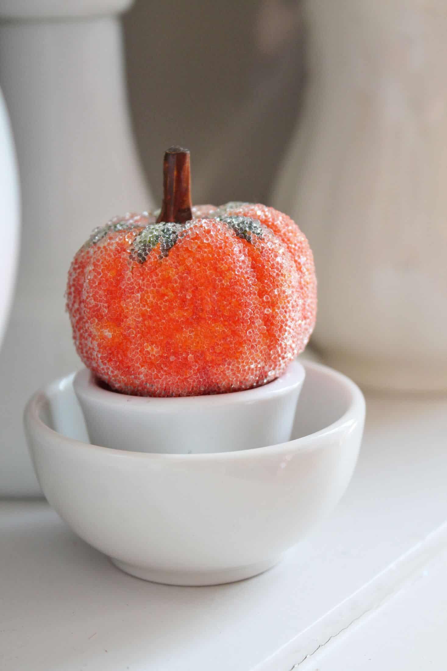 little pumpkin in ironstone bowls