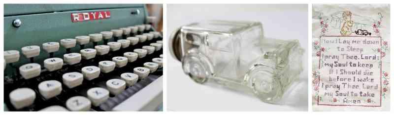 vintage typewriter, candy container, cross stitch