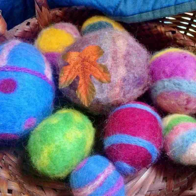 felted balls of yarn