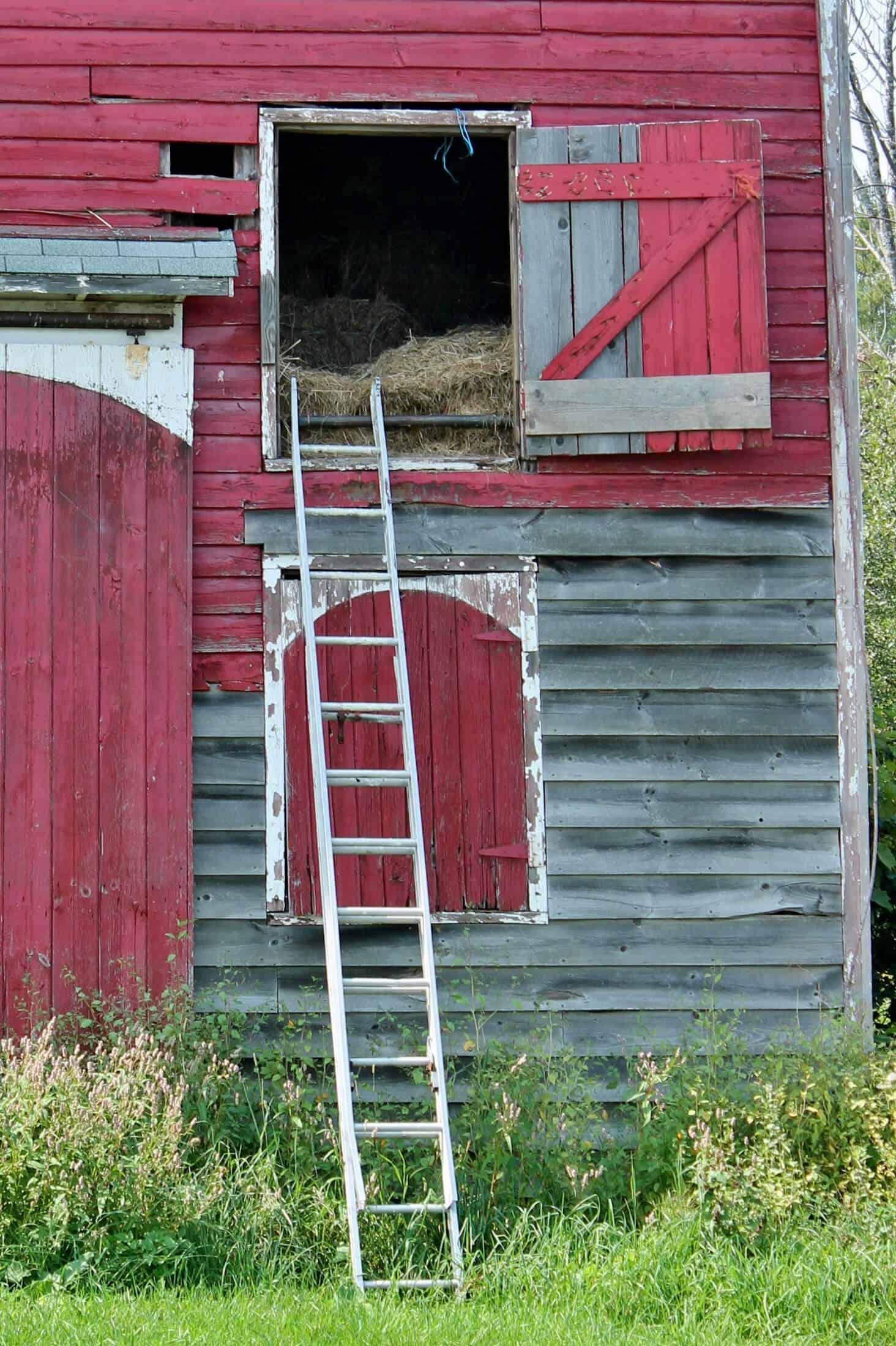 Close up of hay door on red barn