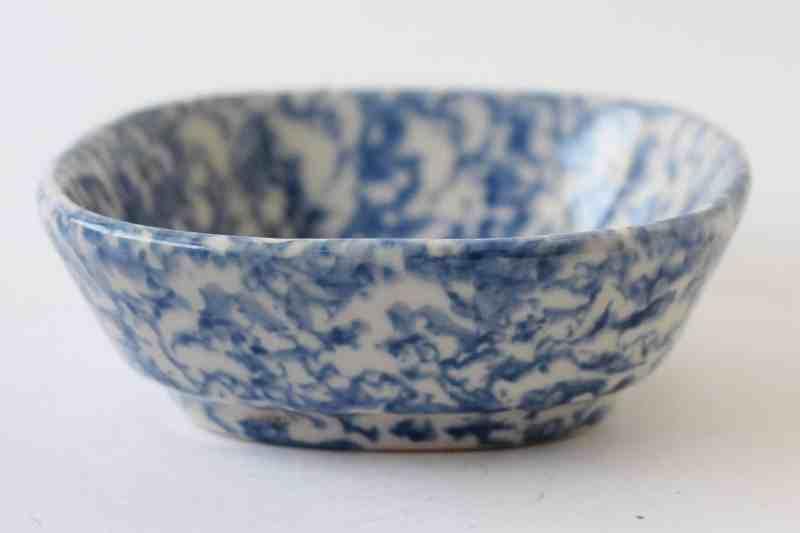 vintage blue spongeware dish