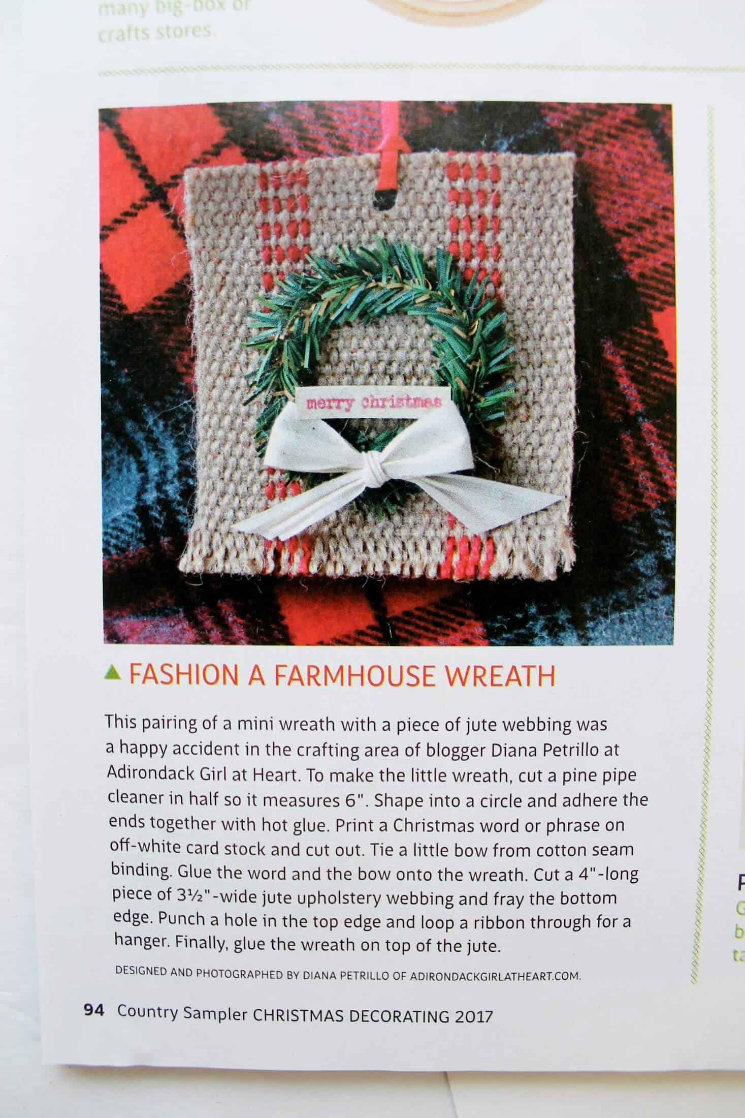 magazine article with farmhouse ornament