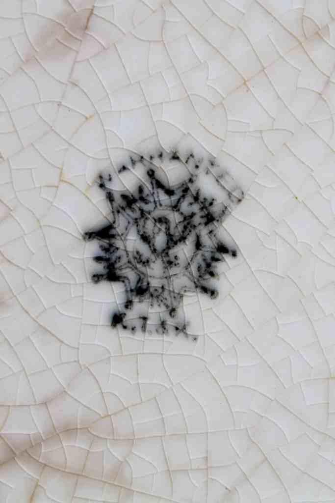 K, T, & K mark on antique ironstone platter