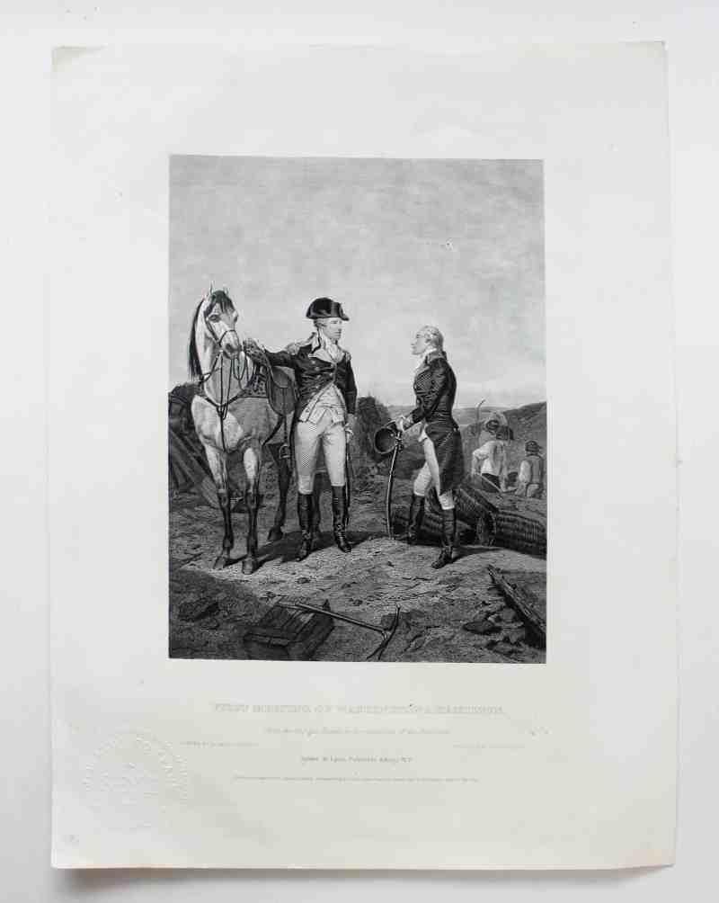 engraving of Hamilton meeting Washington